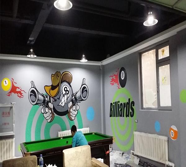 尊皇台球彩绘墙