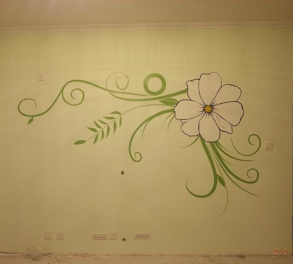 电视墙手绘