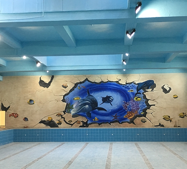 游泳健身馆彩绘墙