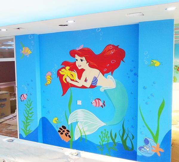 儿童游泳馆彩绘墙