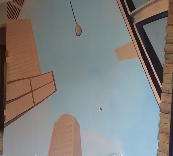 哈尔滨电视墙彩绘